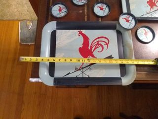 lot Of Cool Rooster Trays And Matching Coasters