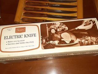 Electric Carving Knife with Stainless Steel Blade  Tested and Works  Set of Six Cutting Knives