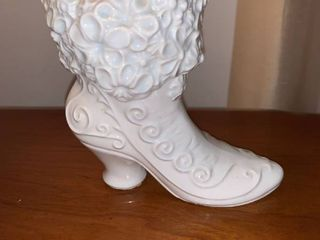 Vintage Victorian Ceramic Boot Vase Location Mantel