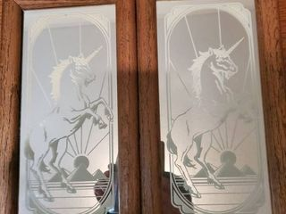 lot of 2 Unicorn Wall Decor Pieces  with Pyramids