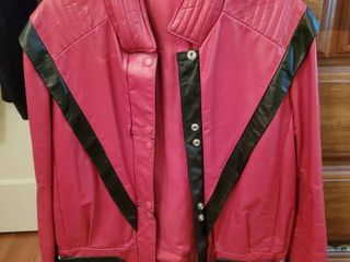 Red leather Thriller Style Womens Jacket Size 11 12