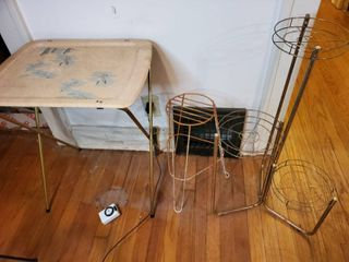 lot of 2 Plant Stand and 1 Folding Dinner Tray