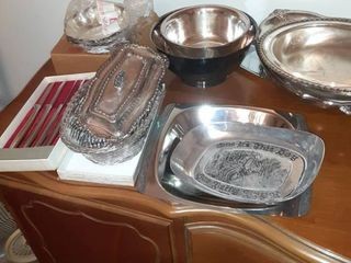 lot of Twelve Silver Plated Serving Bowls  Plates and Cutlery  Butter Dish