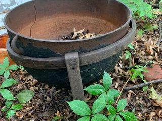 Cast Iron Cauldron With Base Cracked location Back Storage