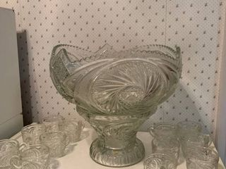 Beautiful Pressed Glass Punch Bowl And 12 Glasses location Kitchen