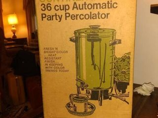 Beautiful Vintage Continental 36 Cup Percolator In Stunning Avocado Green In Box
