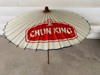 Vintage Chun King Advertising Paper Parasol Bamboo Handle location Spare