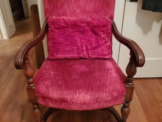 Carved Mahogany Red Velvet Arm Chair