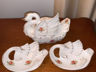 Set of 3 Vintage Swan Trinket Dishes Location Mantel