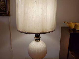 Marble .Brass and Glass Globe Lamp . Tested and Working