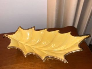 Mid Century Yellow Gilded Ceramic Leaf Bowl Location Mantel