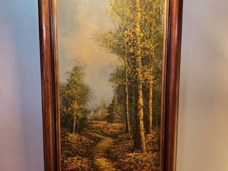 W.Norwood. Oil Painting with Display Light..with Brass plated Corners