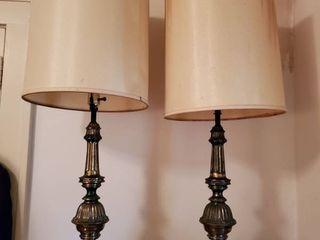 Pair of Mid Century Modern Genuine Carrara lamps