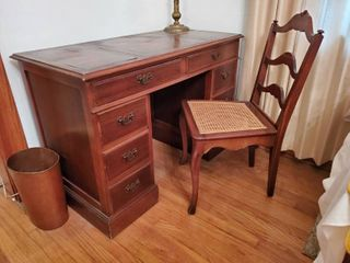 leather Top Cherry Executive Desk with Cane Back Chair