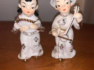 Pair of Vintage lefton Porcelain Asian Gals location Mantel
