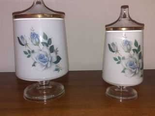 lot Of 2 Decorative Glass Jars