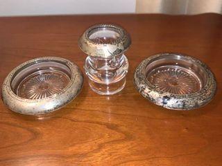 Vintage Sterling Saben Coasters and Toothpick Holder location Mantel