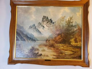 Misty Peaks Print  by Wijmer in Wooden Frame