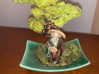 Asian Man Under Bonsai Tree Figure location Mantel