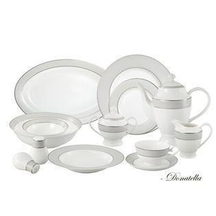 lorren Home Trends la luna Collection Bone China 57 piece Silver Trim Dinnerware Set  Service for 8  Retail 265 99
