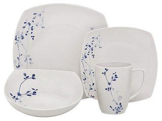 Melange 16 Piece Square Porcelain Dinner Set  Indigo Garden  Service for 4 Microwave  Dishwasher   Oven Safe Dinner Plate  Salad Plate  Soup Bowl   Mug  4 Each