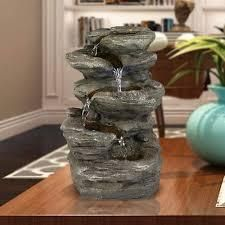 Global Pronex Water Fountain 5 Tier Flowing Rockery Tiered  Desktop Patio Table Waterfalls 11 H with lED   Submersible Pump