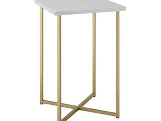 16 Square Side Table with White Faux Marble Top and Gold legs
