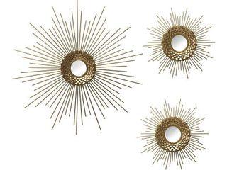 Stratton Home Decor Set of 3 Gold Starburst Wall Mirrors   18 00 X 0 75 X 18 00  Retail 86 49