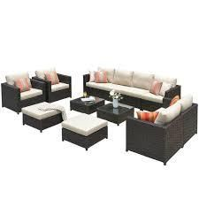 Ovios Patio Furniture 12 piece Rattan Wicker Outdoor Sectional Set with 4 Pillows and 2 Covers  Retail 2008 99 2 boxes