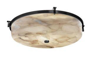 Alabaster Rocks  Era 21 inch Matte Black Round Flush Mount  Alabaster Rocks Shade  Retail 298 00 2 boxes