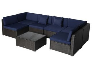 7 piece Modern Rattan Wicker Outdoor Modular Sectional Patio Set   Retail 687 49 3 boxes