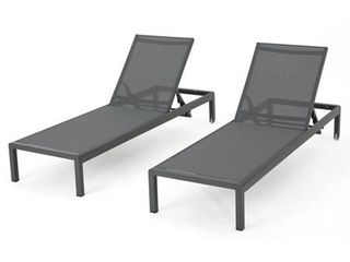 Cape Coral Set of 2 Aluminum Chaise lounge   Gray Dark Gray   Christopher Knight Home  Retail 441 99