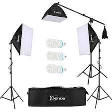 Kshioe 65W 135W Photo Studio Photography 2 3 Soft Box light Stand Continuous lighting Kit Diffuser
