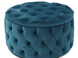 Zelfa Round Tufted Velvet Ottoman by Christopher Knight Home   Retail 177 49