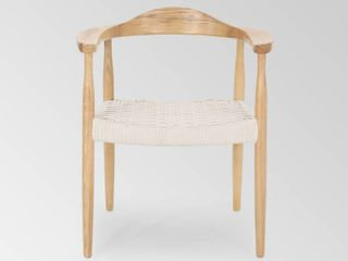 Palmyra Mid Century Modern Ash Wood Accent Chair with Olefin Rope Seat by Christopher Knight Home  Retail 224 49