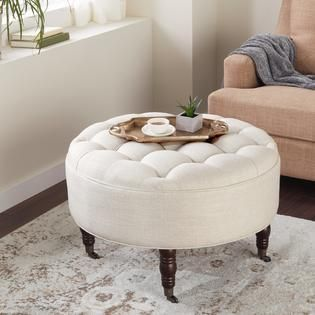 Abbyson  Clarence  Tufted Round Ottoman   Retail 249 99