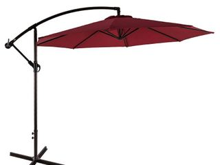 Weller 10  Cantilever Hanging Patio Umbrella  Base Not Included  Retail 139 99 red