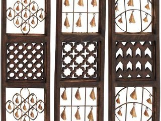 Set of 3 Eclectic 36 Inch Brown Wooden Wall Panels by Studio 350  Retail 114 99
