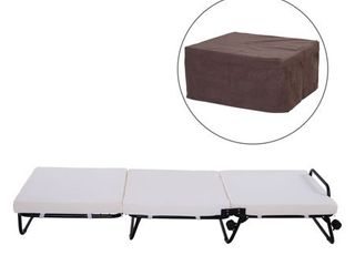 HOMCOM Twin Size Folding Convertible Sleeper Bed Ottoman with Coffee Slipcover  Retail 179 99