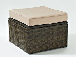 Palm Harbor Outdoor Wicker Ottoman in Brown with Sand Cushions  Retail 119 99