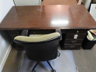 Lot #3776 -Mahogany executive desk with seven