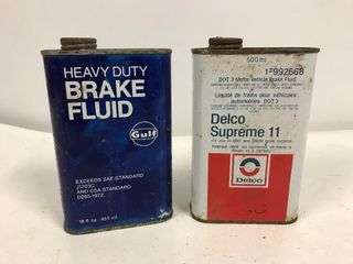 Gulf and Delco brake fluid tins