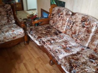 Wooden frame couch and chair set with floral