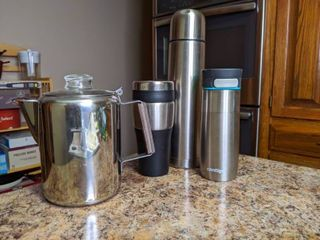 Lot of Travel Mugs and Perculator