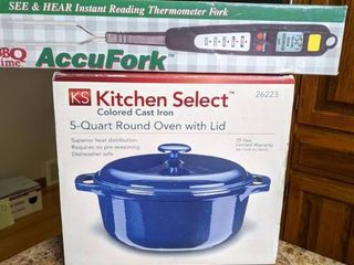 Cast iron enameled cookware and accufork