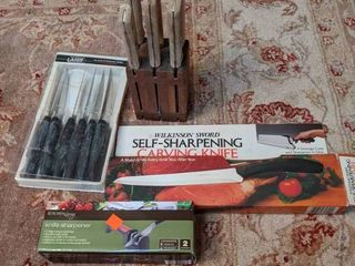 Lot of Kitchen Knives and Sharpeners