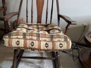 H40xW215xD25 Wooden Rocker with cushion. Cushion doesnt seem original to chair but fits in a nice oversized manner