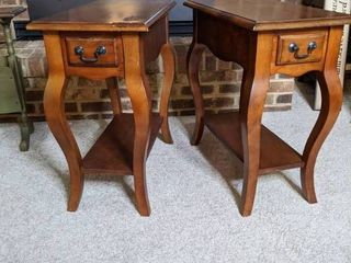 Two Wooden side tables. Good condition.