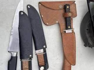 Lot of high quality knives hatchet and Leather holster.