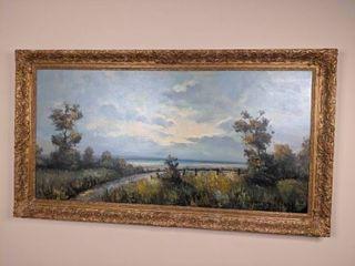 Signed Oil Painting of Beach Scene- Framed